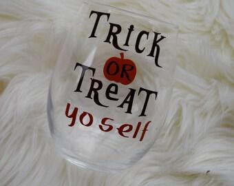 Halloween Gift, Halloween Wine Glass, Trick Or Treat, Treat Yo Self, Funny Wine Glass, Stemless Wine Glass, Wine Gift, Halloween Gifts
