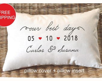 Personalized pillow, Wedding gift , Anniversary gift pillow, Newlywed Gift,Engagement Gift, Bridal shower gift , Wedding gift pillow (P4)