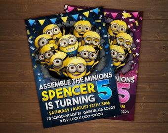 Custom Despicable Me / Minions Birthday Invitation - 5x7 or 4x6
