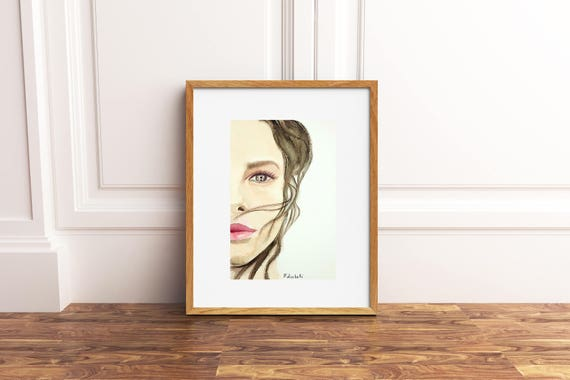 Woman portrait, watercolor, original painting, ooak, gift idea for birthday, wall art, living room decoration, bedroom art, elegant picture.