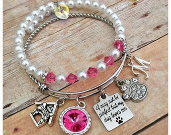 Dog Charm Bracelet, Dog Lover Gifts, Dog Jewelry, Dog Paw, Top Dog, Swarovski Crystal, Birthstone Bracelet, Personalized Bracelet, Bangles