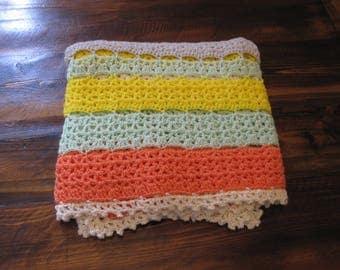 crochet baby blanket, citrus stripe blanket, crib size