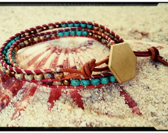 Beaded Leather Ladder Wrap Bracelet - Red & Umber Tone Leather//Turquoise Picasso Czech Beads//Toffee Picasso//Gold Hexagon Button
