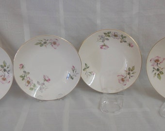 Wild Rose soup bowls by Knowles - set of 4 (Pink,purple flowers with gray,green leaves)