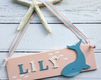 Whale Personalised Name Sign with Fish Detail, customised name sign, name plaque