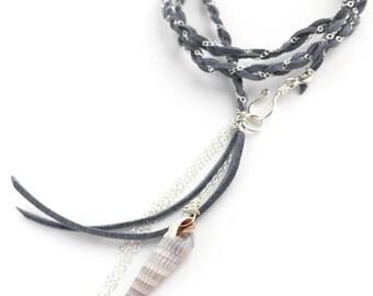 Seashell + Suede Wrap Bracelet | Sterling Silver Bracelet, faux suede bracelet, beach, summer, charm bracelet, seashell jewelry