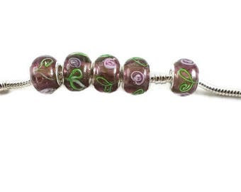 ON SALE 5 Purple European Beads, Rose Flower Murano Beads, Bracelet, Glass Beads, Large Hole Beads, Bracelet Beads, Jewelry Making, EB1087