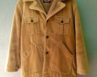 1970s Vintage Cozy Corduroy Mens Fleece Lined Coat Made in USA by  Westwind Size L