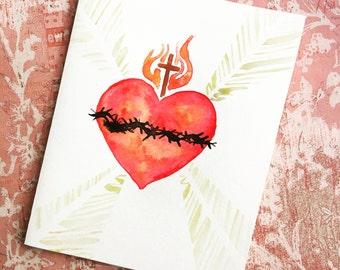 """Sacred Heart/ 4x5"""" card"""
