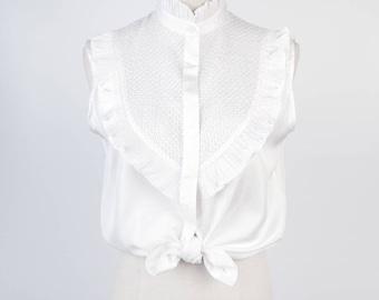 White Ruffle Stand Collar Sleeveless Vintage Women Blouse Size M