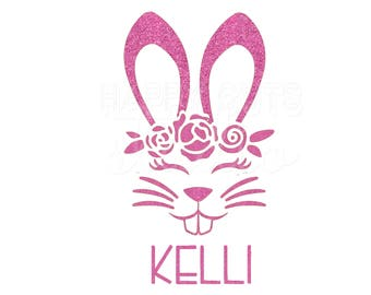 Personalized Easter Bunny Glitter Iron On Girls Matching Mom Daughter Sisters Rabbit Easter Egg Hunt Spring Iron On Vinyl Decal for Shirt