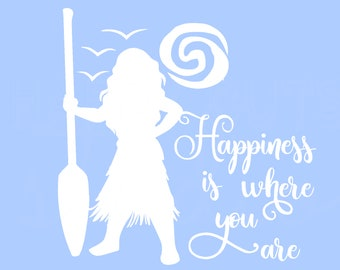 Moana Happiness is where you are Disney World Vacation Matching Family Mother Daughter Aulani Hawaii Disney Iron On Decal Vinyl 4 Shirt 204