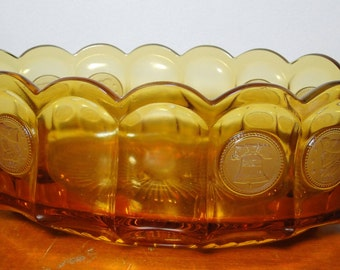"""Fostoria Coin Glass Amber Bowl - Oval - 3 1/8"""" X 5 3/4"""" X 8 3/4"""" - Great Find!"""