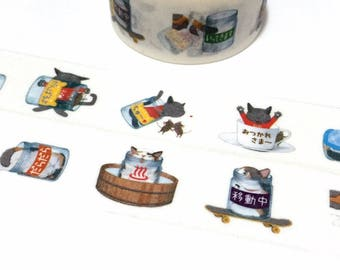 Cute cartoon cat washi tape 5M x 2cm grey cat naughty cat masking sticker tape Japanese cg comic cat diary planner sticker gift decor