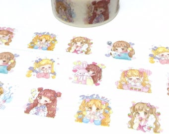 cute girl washi tape 5M x 2cm cartoon girl Japan comic cg girl sweet blonde girl masking sticker tape girl diary girl planner decor gift