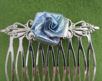 Blue rose hair accessory, blue hair accessory, rose hair accessory, rose hair, blue rose, blue ice, ice blue, rose hair comb, Blue hair comb