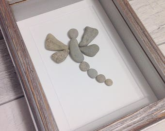 dragonfly pebble art unique home decor wall art birthday gift housewarming gift
