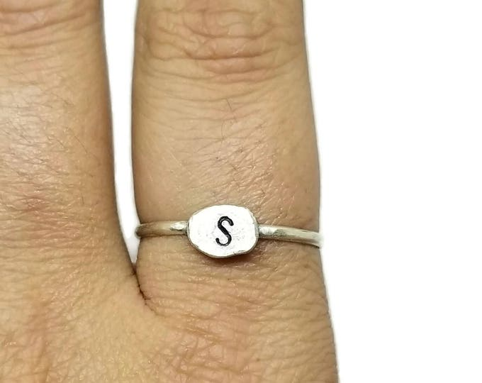 Sterling Silver Initial Ring, Personalized Silver Stacking Ring, Hand Stamped Initial Ring, Unique Birthday Gift, Custom Initial Ring