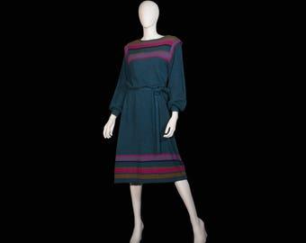 70s Bouclé knit stripe vintage dress.