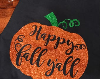 Happy Fall Y'all Pumpkin Short sleeve T-SHIRT/Unisex T-Shirt/Multiple Colors/Pre-shrunk Cotton/