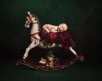 Christmas Newborn Digital backdrop / background / rocking horse / teddy / drum