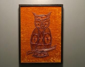 Framed owl string art