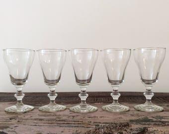 Set of 5 Vintage Libbey Glass Rock Sharpe Georgian Beer Drinking Glasses - Mid-Century Barware