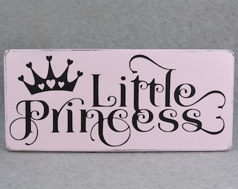 Rustic Little Princess With Crown Little Girl's Room Decor Wood Sign, Pink & Black