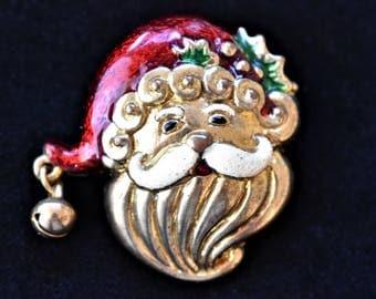 "Vintage Jolly St Nick Santa Christmas Holiday Brooch Retro Coat Sweater Pin 1.5"""