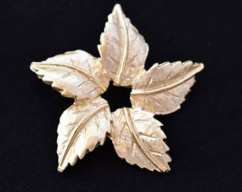 Vintage Delicate Circular Geometric Leaf Brooch Coat Sweater Scarf Pin Gold Tone Retro Minimalist Costume Jewelry 1.75""