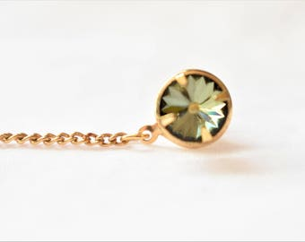Vintage Green Rhinestone Tie Tack Pin Bar and Chain Gold Tone Men's Retro Mid Century Formal Wear Suit Tie Accessories