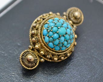 Antique 830S SILVER GILT & Persian Turquoise Cannetille Filigree Dome BROOCH
