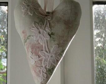 Lavender Hanging Heart Vintage Laura Ashley Fabric