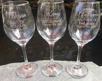 One Single (1) Etched Wine Glass, Bridesmaid, Maid of Honor, Bridal Party, Weddings, Gifts