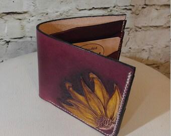 Leather bi-fold wallet, tooled sunflower design