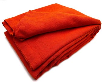 """XXXL allrounder bed cover plaid blanket with letter corners 100% Natural linen """"Stonewashed"""" 260 x 280 cm red"""