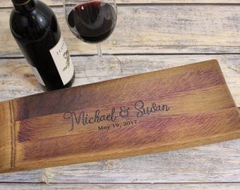 Personalized Cheese Board - Charcuterie Board - Personalized Gifts for Wedding - Rustic Wood Tray - Wine Barrel Tray - Second Marriage
