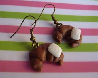 Sugar polymer clay and bronze Crescent earrings