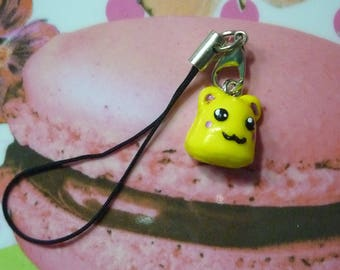 Mobile strap bag Kit snowman thingy kawaii manga yellow polymer clay hand painted