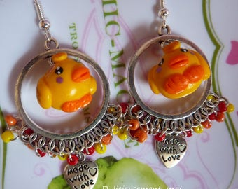 Earrings 925 sterling silver supports chick Canary bird kawaii polymer clay fimo charm yellow heart seed beads