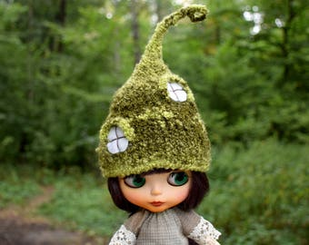 Blythe hat Blythe doll clothes Easter outfit Fairy hat Mossy hut Elf hat Neo Blythe custom doll outfit Pullip clothes BJD SD helmet custom