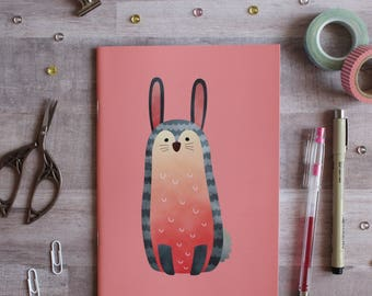 NOTEBOOK. A5 Cute Bunny Notebook. Soft 300 gsm Card Cover. 40 lined pages. Matte lamination pleasant to the touch.