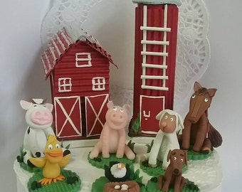 Farm animals and barn Cake Topper set