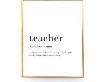 Teacher Definition Print For Teacher Gift For Teacher Appreciation Teacher Printable Definition Teacher Quote Teacher Print Teacher Poster