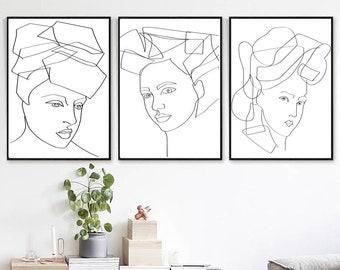 Line Drawing Woman Face Set of 3 Downloadable Prints Female Art Modern Home Art Large Wall Art Minimalist Poster Scandinavian Print 24x36