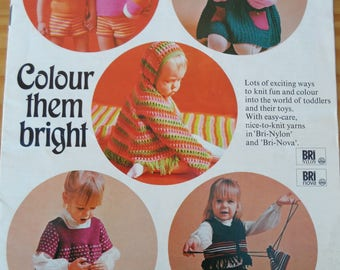 Vintage knitting pattern booklet for a selection of colourful items to knit for toddlers.