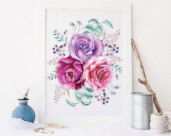 Flowers Art Printable Roses Bouquet Print Still Life Watercolor Flowers Watercolor Floral Art Print Floral Painting Wall Art Home Decor