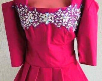 Embellished off shoulder pink blouse and long skirt
