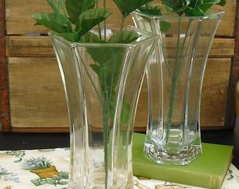 Vintage Tall Clear Six Sided Glass Flower Vase, Spring Flower Holder, Floral Arrangements, Wedding Gift, Hostess Gift, 2 Glass Centerpieces