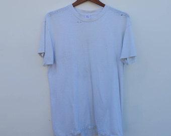 0636 - Distressed/Thin - White T Shirt